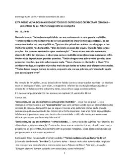 XXXII TEMPO ORDINARIO – 8 novembre 2015