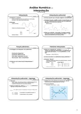 Análise Numérica (4) Interpolação
