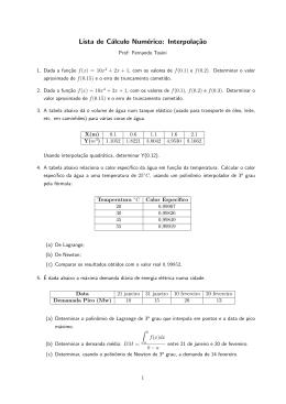 Lista de Cálculo Numérico: Interpolaç˜ao