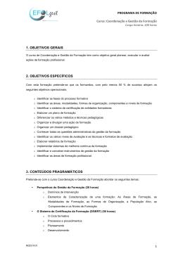 PROGRAMA DE FORMAÇÃO Curso: Coordenação e