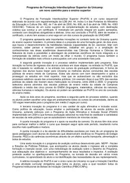 Programa de Formação Interdisciplinar Superior da Unicamp: um