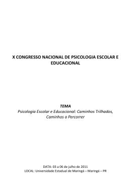 X Congresso Nacional de Psicologia Escolar e
