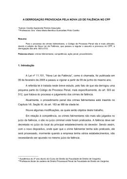 1. A Derrogacao feita pela nova lei de falência no CPP