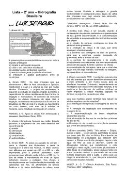 Lista – 2º ano – Hidrografia Brasileira