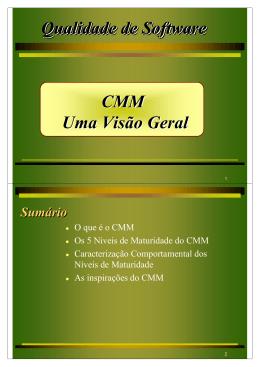 Qualidade de Software CMM Uma Visão Geral