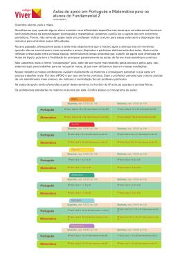 Aulas de apoio em Português e Matemática para os alunos do