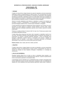 MATEMÁTICA E LITERATURA INFANTIL: UMA NOVA E - sinpro-sp