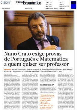 Nuno Crato exige provas de Português e Matemática a quem quiser