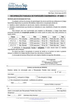 recuperação paralela de português e matemática – 4º ano