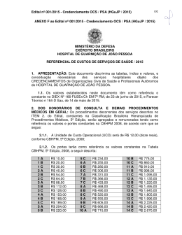REFERENCIAL DE CUSTOS DE SERVIÇOS DE SAÚDE