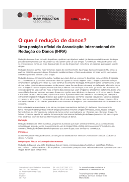 O que é redução de danos? - International Harm Reduction