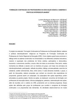FORMAÇÃO CONTINUADA DE PROFESSORES DA EDUCAÇÃO