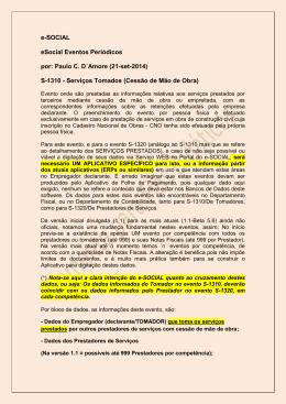 e-SOCIAL eSocial Eventos Periódicos por: Paulo C. D