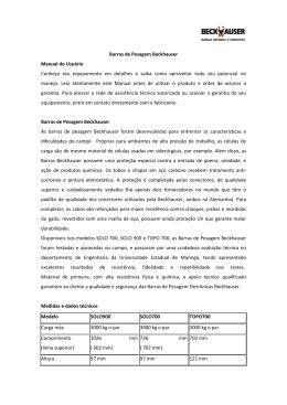 Barras de Pesagem Beckhauser Manual do Usuário Conheça seu