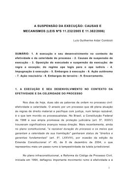 A SUSPENSÃO DA EXECUÇÃO: CAUSAS E MECANISMOS (LEIS