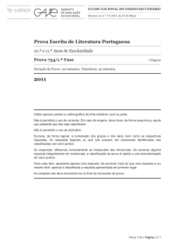 Prova Escrita de Literatura Portuguesa