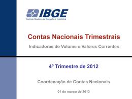Contas Nacionais 4 T 2012