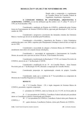 RESOLUÇÃO Nº 435, DE 27 DE NOVEMBRO DE 1999.