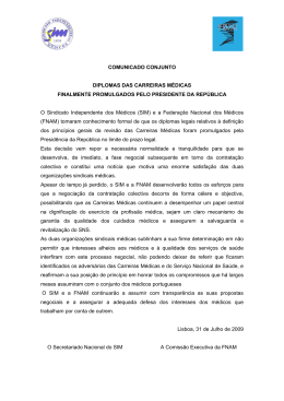 Comunicado - SMZC - Sindicato dos Médicos da Zona Centro