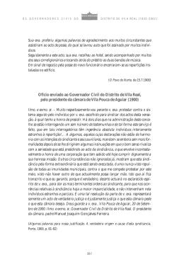 Oficio enviado ao Governador Civil do Distrito de Vila Real, pelo