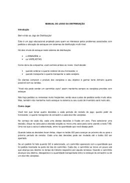 MANUAL DO JOGO DA DISTRIBUIÇÃO Introdução Bem