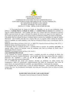 1 ESTADO DO MARANHÃO MINISTÉRIO PÚBLICO COMISSÃO DO