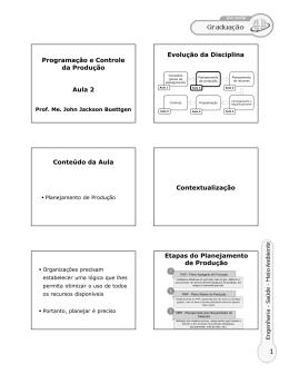 Programação e Controle da Produção Aula 2 Evolução da