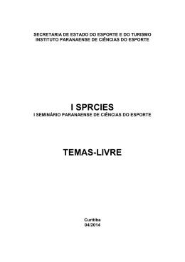 I SPRCIES TEMAS-LIVRE - Secretaria do Esporte e do Turismo