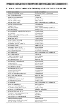 lista de inscrições homologadas