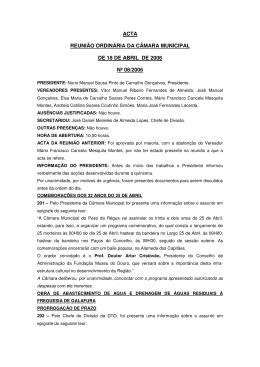 Reunião Ordinária nº8 de 18 de Abril de 2006