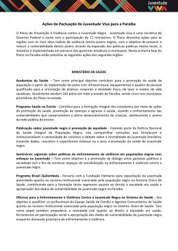 Ações de Pactuação do Juventude Viva para a Paraíba