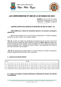 lei complementar nº 080 de 14 de março de 2011