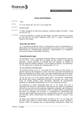 nº 14 do artigo 29º, nºs 10 e 11 do artigo 36º Assunto: Autofaturação