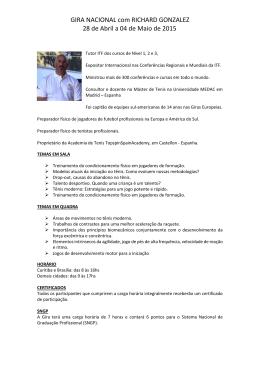 GIRA NACIONAL com RICHARD GONZALEZ 28 de Abril a 04 de