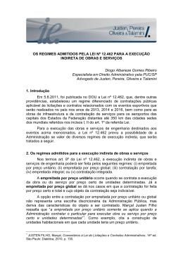 OS REGIMES ADMITIDOS PELA LEI Nº 12.462 PARA A