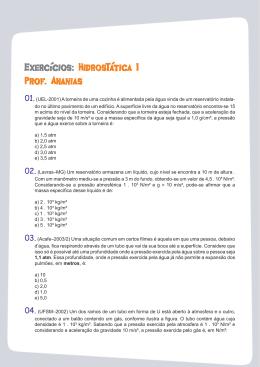Exercícios:Hidro sTática I Prof. Ananias