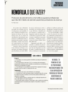 HEMOFILIA,O QUE FAZER? - Revistas Melhores Práticas