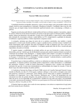 Nota da CNBB a favor do Brasil