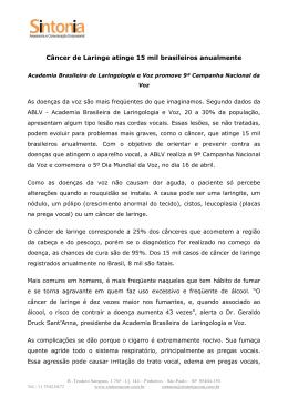 Câncer de Laringe atinge 15 mil brasileiros anualmente