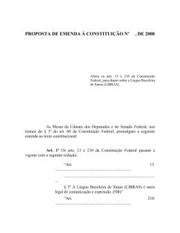PROPOSTA DE EMENDA À CONSTITUIÇÃO Nº , DE 2008
