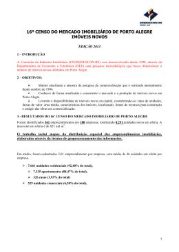 16º CENSO DO MERCADO IMOBILIÁRIO DE PORTO ALEGRE