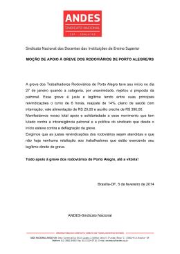 Moção de Apoio à Greve dos Rodoviários de Porto Alegre/RS