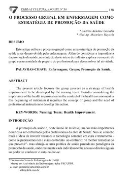 o processo grupal em enfermagem como estratégia de