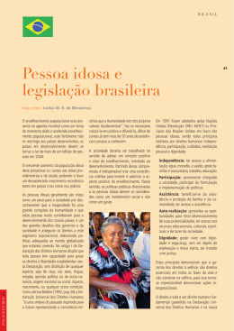 Pessoa idosa e legislação brasileira