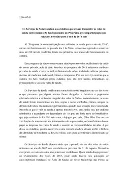 2014-07-31 Os Serviços de Saúde apelam aos cidadãos que
