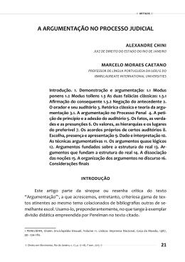 A ARGUMENTAÇÃO NO PROCESSO JUDICIAL