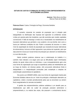 ESTUDO DE CUSTOS E FORMAÇÃO DE PREÇO PARA