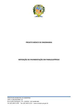 PROJETO BÁSICO DE ENGENHARIA REPOSIÇÃO DE
