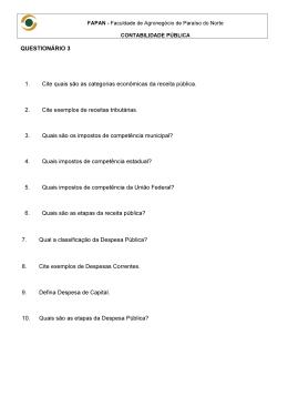 QUESTIONÁRIO 3 1. Cite quais são as categorias
