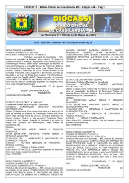 25/08/2015 – Diário Oficial de Cassilândia MS - Edição 406